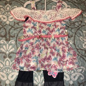 Butterfly 2-piece outfit size 2T NWT